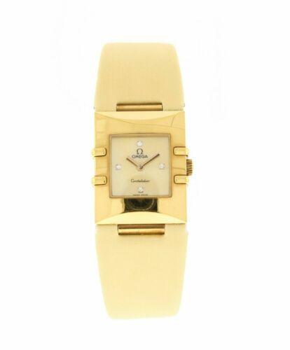 Omega Constellation 18K Yellow Gold Diamonds Watch Quadra Quartz Ladies Watch