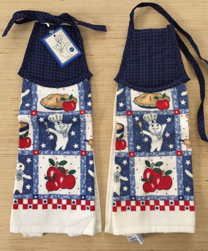 "2 NEW Pillsbury Doughboy ""All American Boy"" Hanging Kitchen Hand Dish Towels USA"