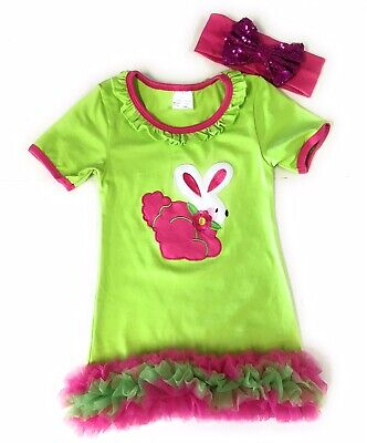 SALE! Girls Easter Bunny Ruffled Dress Toddler Boutique Outfit Kids Clothing