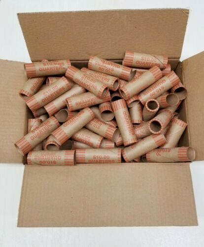 160 Rolls Preformed Coin Wrappers Paper Tubes For QUARTERS (Holds $10 Each) NEW