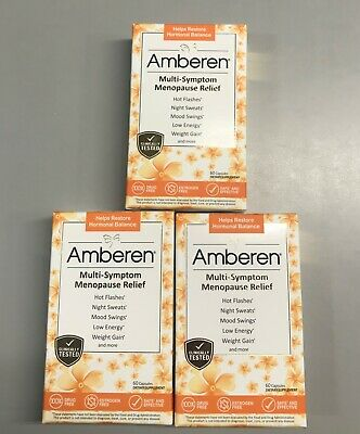 Lot of 3 Amberen Multi-Symptom Menopause Relief 60 Capsules Total 180 Exp 2023