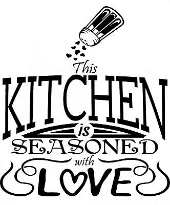 (Kitchen is Seasoned With Love Quote wall vinyl modern home decor sticker decal)