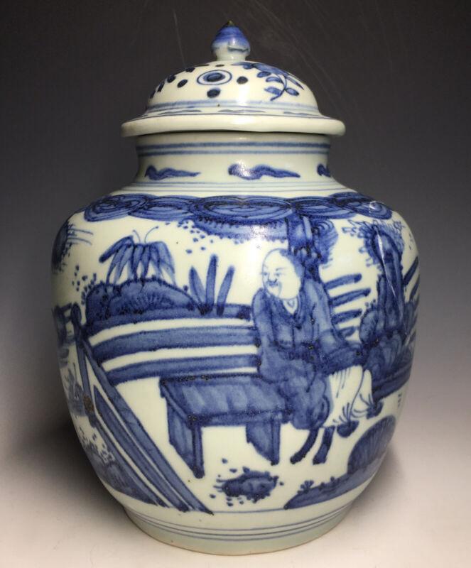Antique Chinese Ming Style Blue & White Jar Mandarin Ducks Lingzi Porcelain