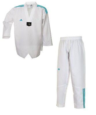 Taekwondo Club (adidas Taekwondoanzug - adi Club 3 stripes - weißes Revers - blaue Streifen)