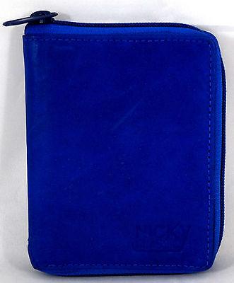 Blaue Damen Geldbörse (Geldbörse Portemonnaie Echt Leder Herren Damen Blau umlaufender Reißverschluss)