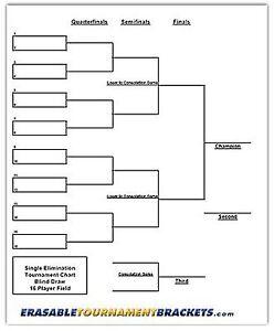22 X 34 16 Player Single Elimination Tournament Bracket
