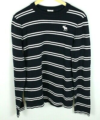 Abercrombie & Fitch Black Long Sleeve Striped Sweater Size L