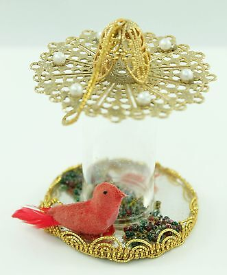 Vintage Gold Red Bird Feeder Christmas Ornament Holiday Tree Decoration