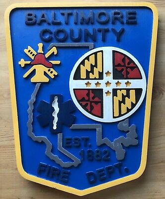 Fire Department Baltimore County 3D routed wood patch plaque sign Custom