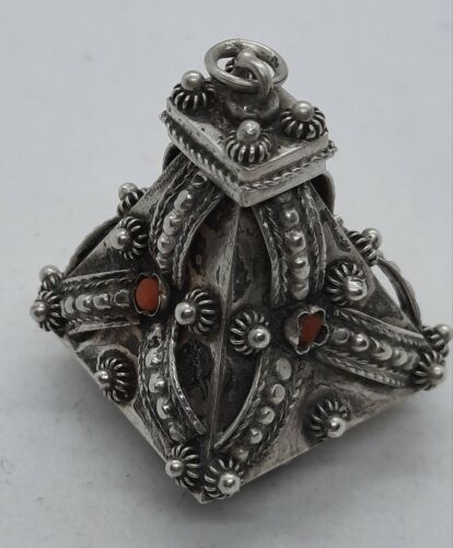 Antique Sterling Silver Victorian Etruscan Coral & Beryl Large Fob Pendant Charm