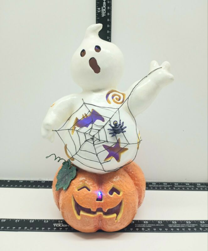 Ghost Light Up Coming out of Pumpkin Rare Decoration Halloween Color Changing