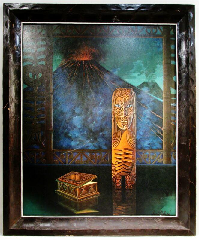 Vintage August Holland Midcentury TIKI Modern Framed Print Fire God Power Within