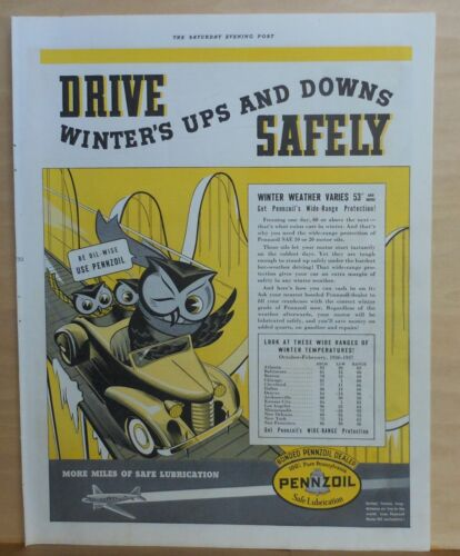 1937 magazine ad for Pennzoil - Happy owls drive car with Pennzoil in winter