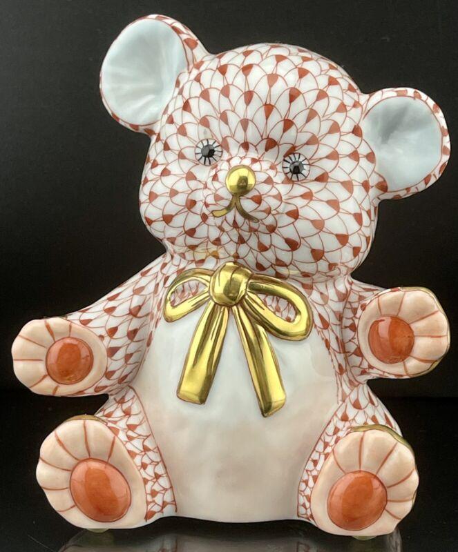 🦋 MINT HEREND Larger Teddy Bear Rust Fishnet Figurine ($600 Retail)