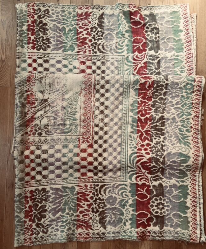 Antique Woven Coverlet Americana  Primitive Quilt Bedspread Red/Green