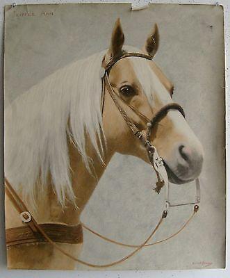 Vtg Horse Little Man Equestrian Portrait Pastel Mixed Media Artist SIGNED Howard