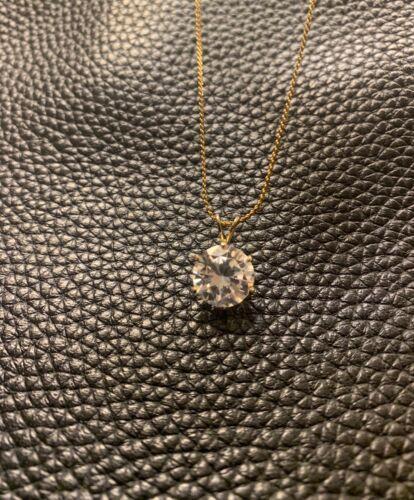 Vintage Diamond Solitaire round cut large pendant chain necklace