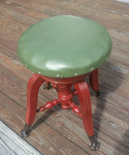 Red Green Piano Stool Seat Chair Glass Ball Claw Foot Swivel Wood Victorian Prop