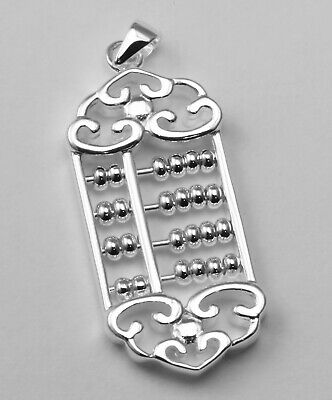 Sterling Silver Moveable Beads Abacus Design Pendant Charm NEW