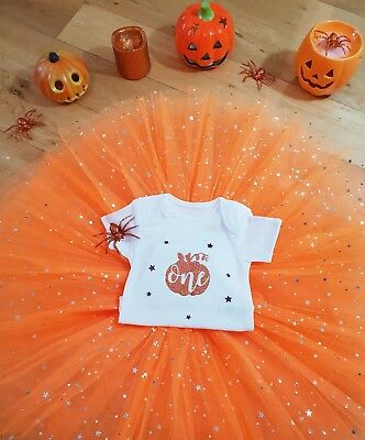 Baby Girls 1st Halloween Pumpkin Costume Tutu Outfit Gift Cake Smash Bodysuit - Baby Girl Halloween Costumes Uk