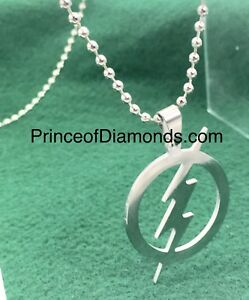 Silver coloured flash symbol pendant charm with necklace