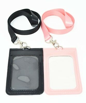 Vertical PU Leather ID Badge Holder Pocket Wallet with Polyester Neck Lanyard ()