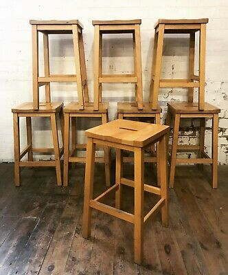 Vintage Collection Of 8 Beech Wooden School Science Lab Stools Bar Restaurant.