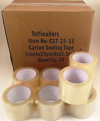 12 Rolls Carton Sealing Clear Packingshippingbox Tape- 2.5 Mil- 3 X 55 Yards