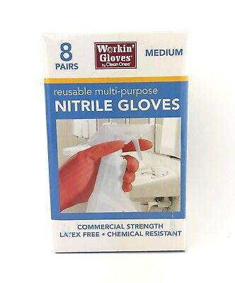 Workin Gloves By Clean Ones Multi-purpose Reusable Nitrile Gloves Size Medium