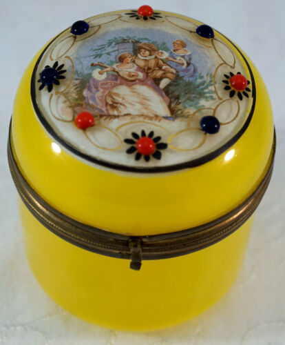 """Yellow Glass Hinged Trinket Dresser Box / Jar with Painting of Couple & """"Jewels"""""""