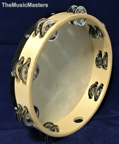 "10"" inch Wood TAMBOURINE Double Jingle Row Band Percussion Musical Instrument"