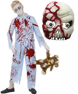 Pyjama Pajama Boy Undead Zombie Corpse Halloween Fancy Dress Costume + Mask 7-14