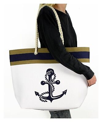 Solid Canvas Tote Shoulder Bag Rope Anchor Nautical Beach Navy Blue White - Nautical Bag