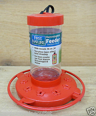 First Nature 16oz Red Plastic Hummingbird Feeder #3051 10 Ports Easy Clean