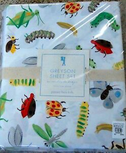Pottery Barn Kids Greyson Twin Sheet Set Bugs Insects New
