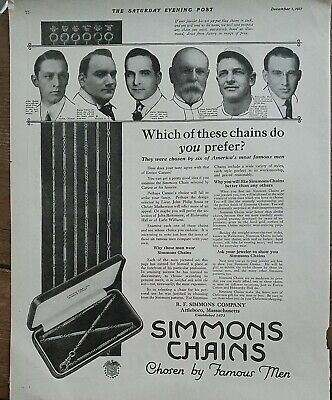1917 RF Simmons jewelry chains John Philip Sousa Christie Matheson vintage ad