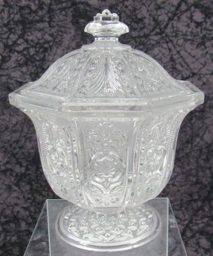 Antique Pittsburgh or New England Pressed Lacy Flint Glass California Sugar Bowl