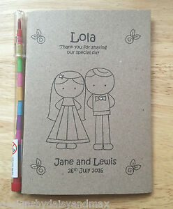 Vintage Childrens Kids Personalised Wedding Activity Pack Book Favour Colouring