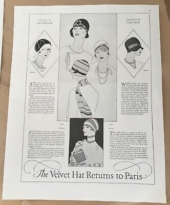 Hat pictorial ad 1927 vintage print 20s illustration art fashion Clara Ernst