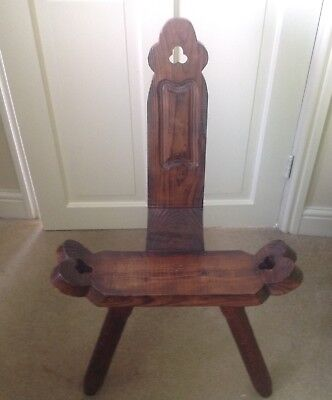 A Beautiful Solid wood Carved Vintage 3 Leg Oak Feature Spinning Chair/Stool