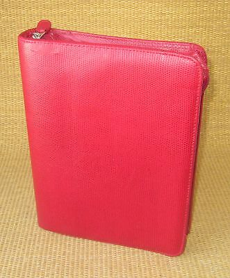 Classic 1.5 Rings Red Sim Leather Reptile Franklin Covey Zip Plannerbinder