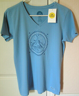 Life is Good *Compass Love Outdoors* size S Womens S/S Crusher V-Neck Tee - NWT! ()