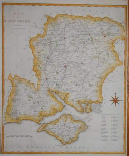A MAP OF HAMPSHIRE BY JOHN CARY, PUBLISHED 1805.