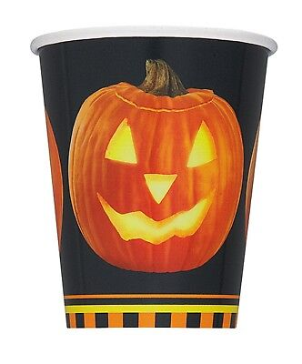 "8 ""Pumpkin Glow"" Halloween Party Supplies Disposable Paper CUPS 9 Oz"