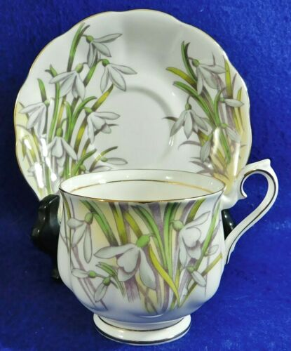 Royal Albert Hand Painted SNOWDROP Tea Cup & Saucer Set Flower of the Month #1