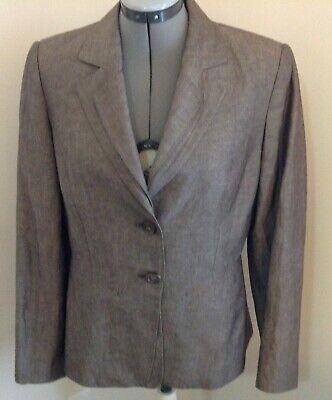 Tahari Arthur Levin brown linen blend 2pc lined pant suit 10