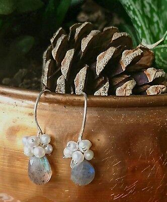 Handmade Labradorite and freshwater pearl earrings