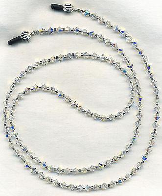 All Swarovski AB Crystal Eyeglass-Glasses Holder Necklace Chain *Custom Length*