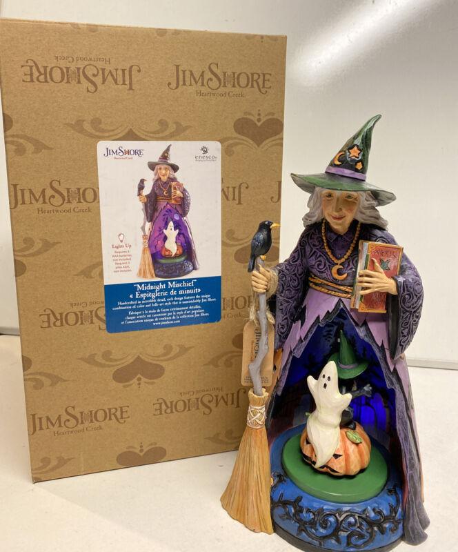 """Enesco Jim Shore Heartwood Creek 11"""" Midnight Mischief Halloween Witch Statue"""