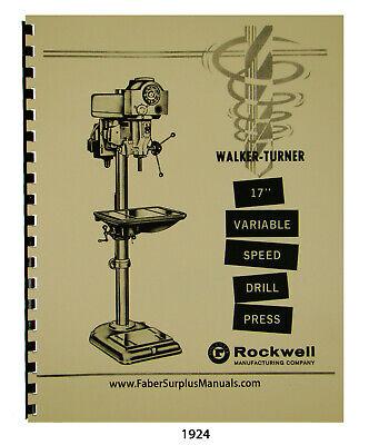 Walker Turner 17 Variable Speed Drill Press Operator Parts List Manual 1924